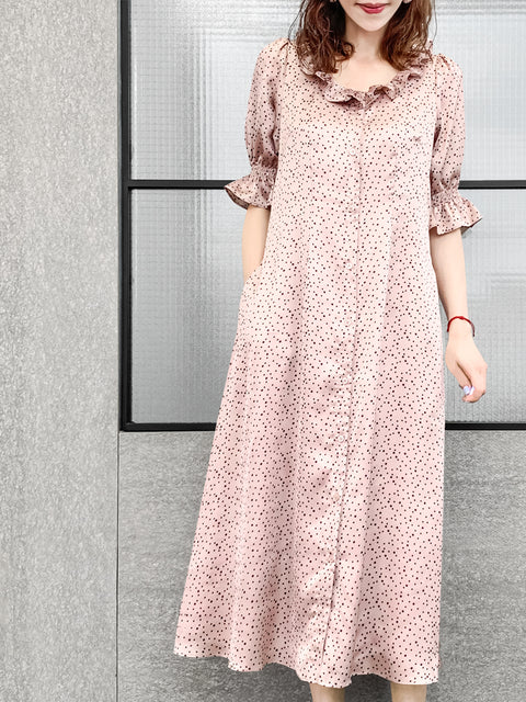 Dusty Pink Dotted Ruffle Waist Button Front 3-WAY Midi Dress