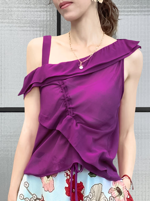 Red Violet Asymmetrical Flutter Drawstring Silky Top
