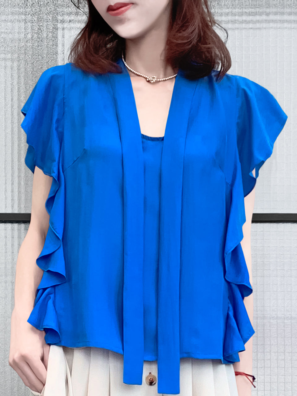 Surprise Sale! Vivid Blue Frills Ruffle Tie Neck Silky Top