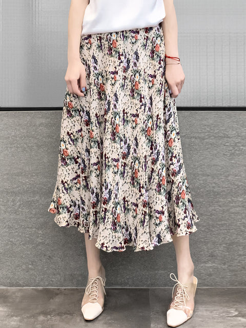 Vintage-chic Floral Print Silky Circle Skirt