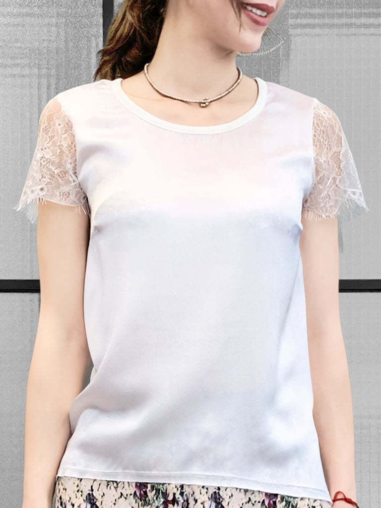 White Eyelash Lace Sleeves Mix Media Square Neck Tee