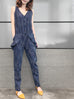 Navy Dash Stripe Chambray Ruffle Jumpsuit