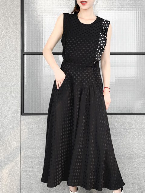 Black Tonal Dotted Sleeveless Ruffle Detail Fit & Flare Dress