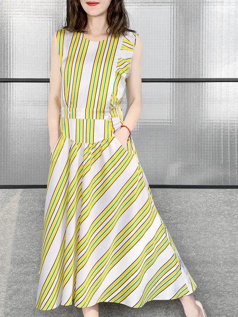 Yellow Stripe Print Sleeveless Ruffle Detail Fit & Flare Dress