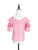Pink & Punch Tiered Sleeve Double V-neck Blouse
