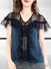 Blue-Black Dotted Lace Ruffle Yoke Silky Top