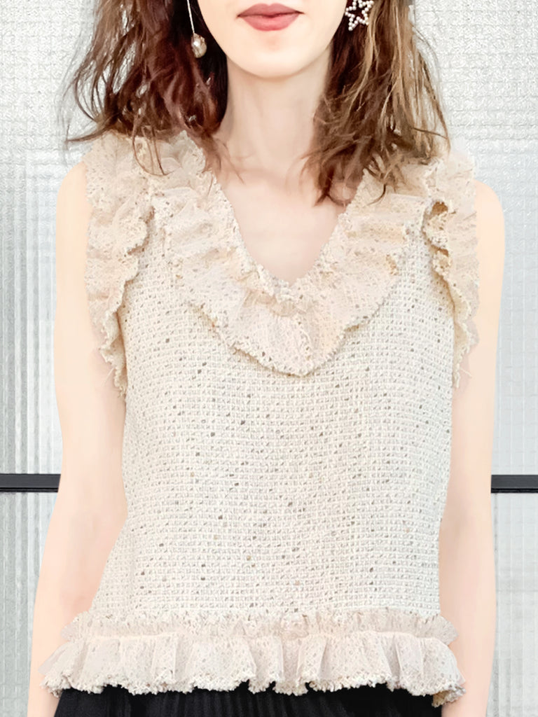 Metallic Thread Tweed Mesh Ruffle Sleeveless Top