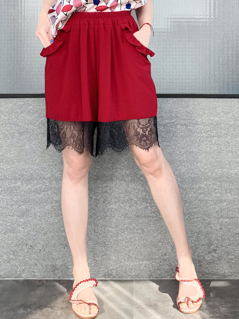 Wine Red Ruffle Pocket Lace Hem Drapey Breezy Shorts