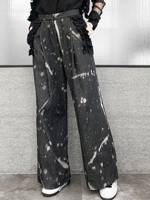 Inky Denim Ruffle Trimmed Pocket Wide Leg Trousers