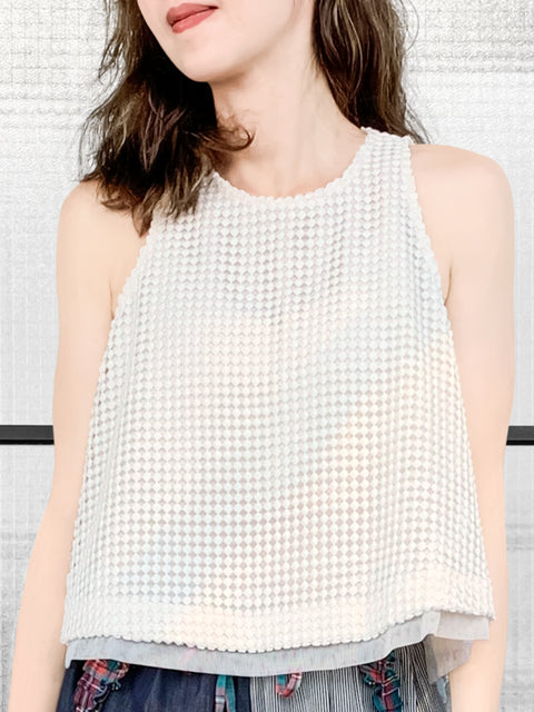 White Dotted Crochet Lace Mesh Trim A-line Swing Shell