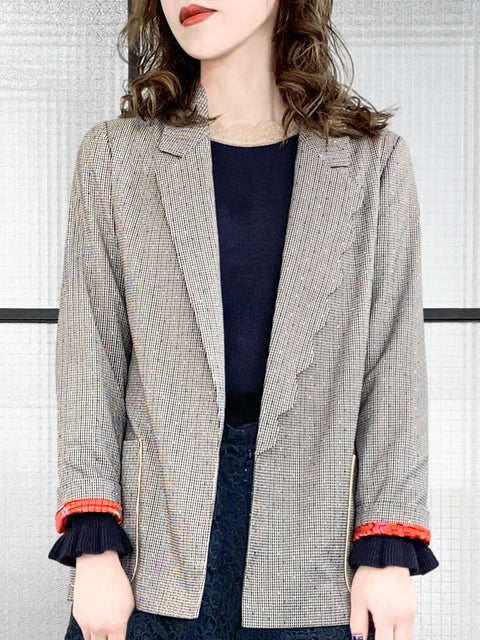 Colourful Stitched Scallop Lapel Slouchy Fit Open Front Blazer