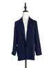 Dark Navy Scallop Lapel Slouchy Fit Open Front Blazer