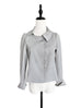 Grey Pinstripe Scalloped Closure Puff Sleeve Short Jacket