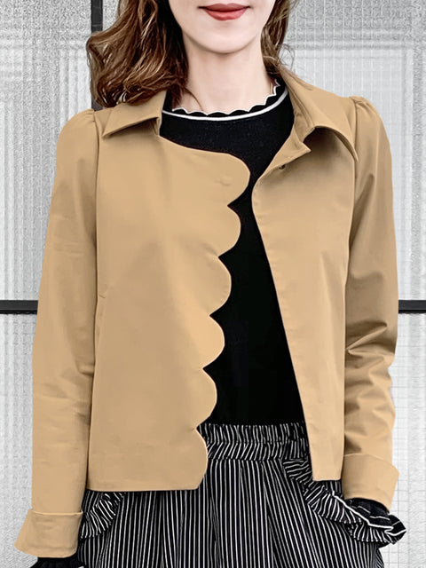 Classic Beige Scalloped Closure Puff Sleeve Short Jacket