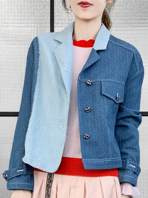 Asymmetrical Colour-blocking Textured Denim Jacket