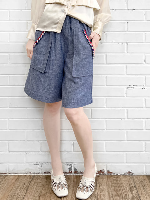 Summer Denim Elastic Waist Trimmed Pocket Bermuda Shorts