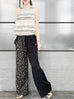 Black Dotted Split Colorblock Ruffle Pocket Drawstring Pants