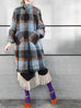 Brushed Plaid Tuxedo-collar Woolly Overcoat
