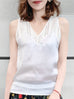 Pure White Embroidery Lace Back V-neck Silk Tank