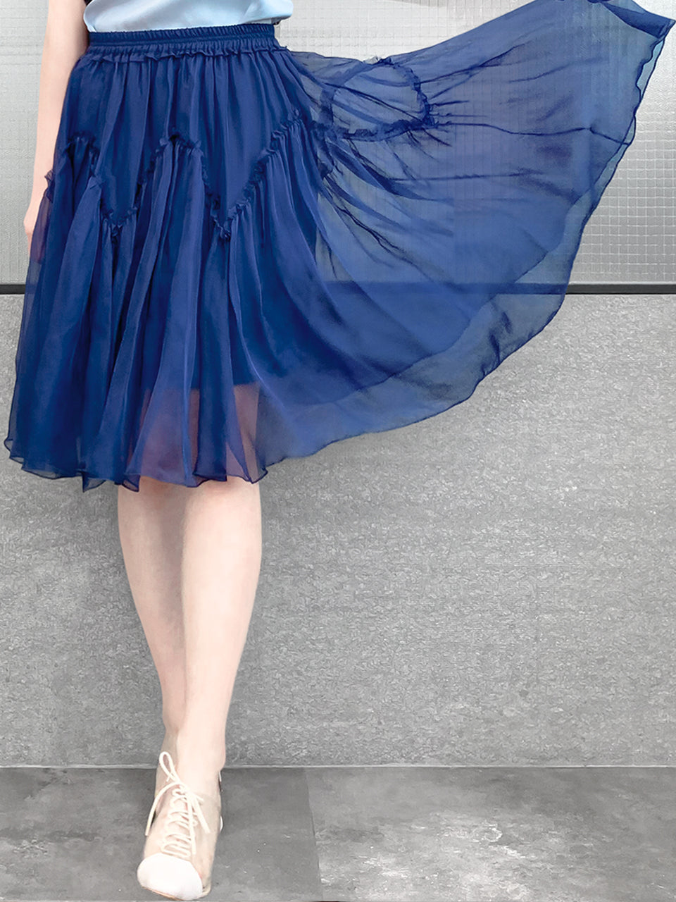 Royal Blue Knee Length A-Line Silky Ruffle Skirt