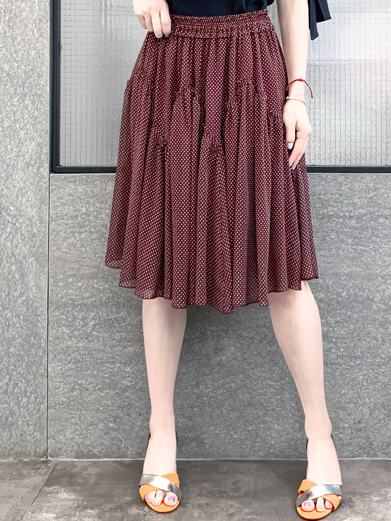 Limited! Burgundy White Dots Knee Length A-Line Silky Ruffle Skirt