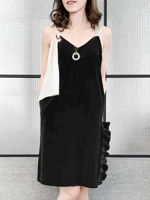 Asymmetrical Tie Shoulder Ruffle Side Slit Velvet Shift Dress