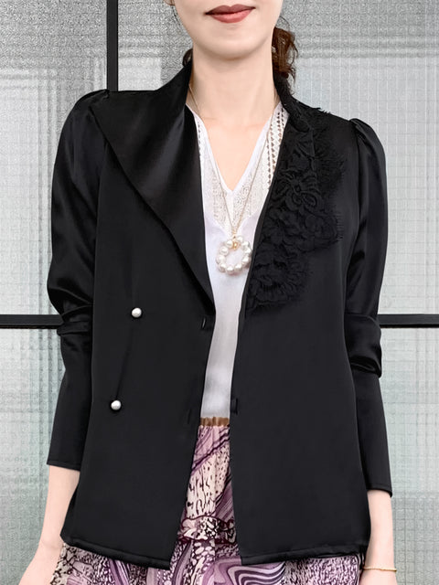 Black Asymmetrical Lace Collar Long Sleeve Silk Shirt