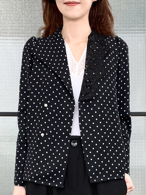 Black Dots Asymmetrical Lace Collar Long Sleeve Airy Shirt