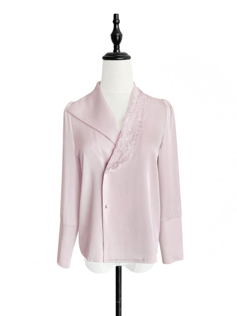 Dusty Pink Asymmetrical Lace Collar Long Sleeve Silk Shirt
