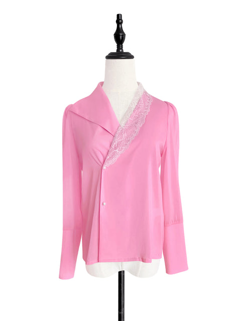 Vivid Pink Asymmetrical Lace Collar Long Sleeve Silk Shirt
