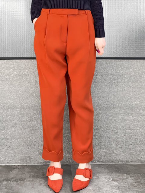 Orange Scallop Cuffed Hem Pleat Front Pants