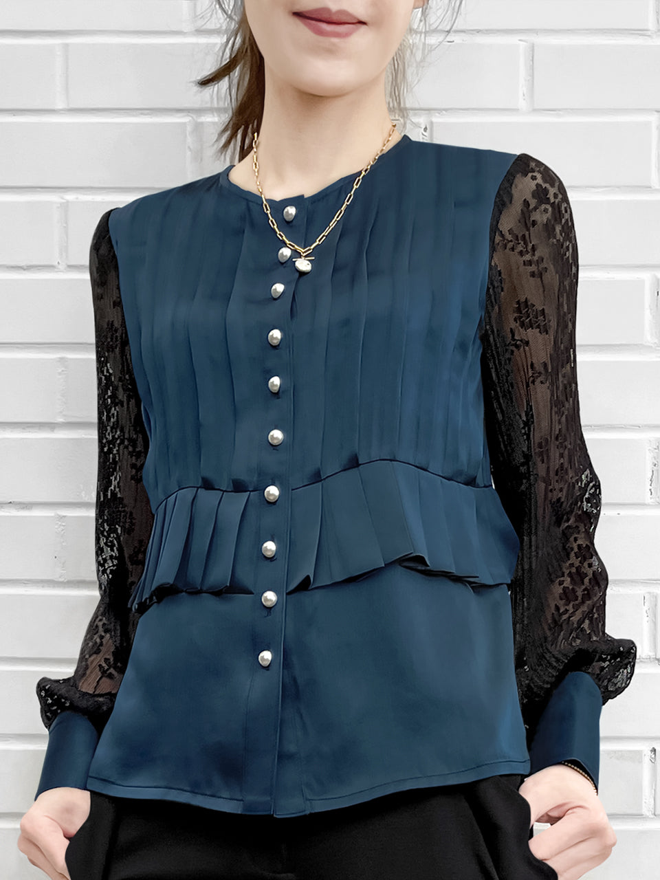 Dark Teal Pleated Detail Lace Sleeve Silk Blouse