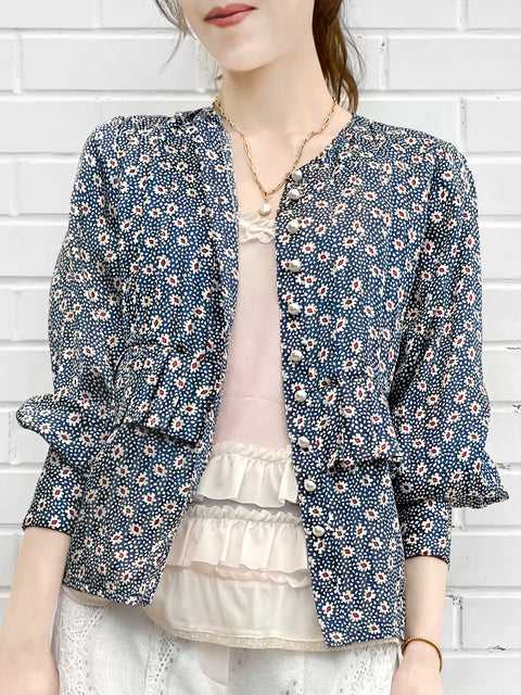 Retro Prints Pleated Detail Bishop Sleeve Silk Blouse