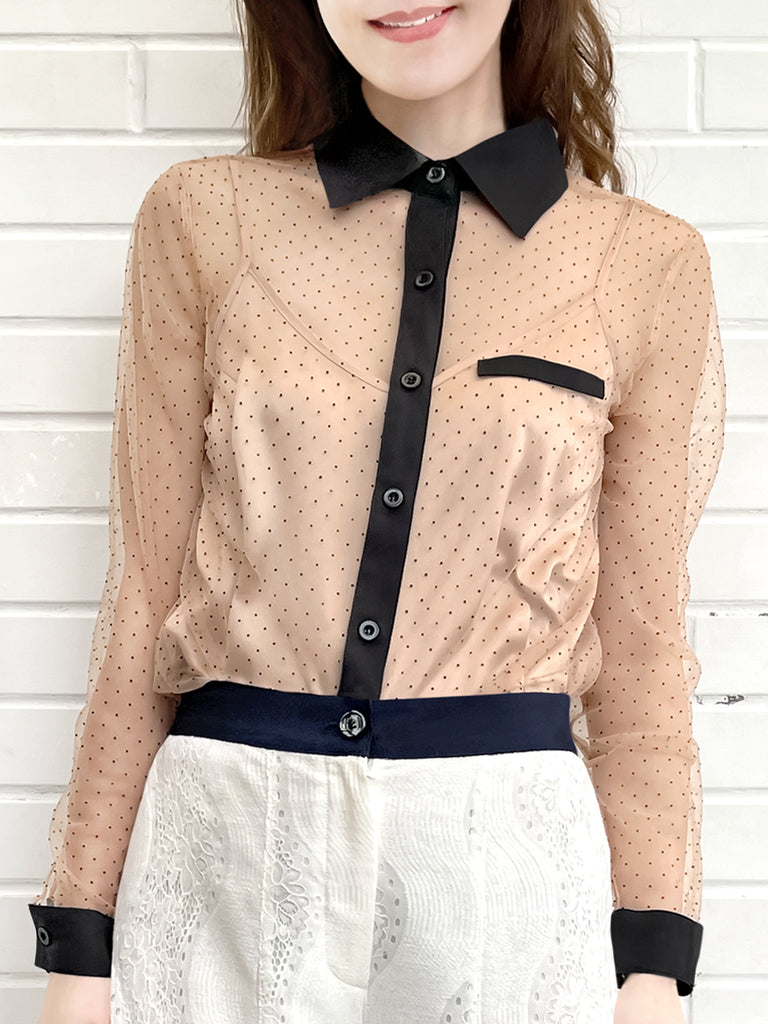 Mesh Polka Dot Contrast Detail Blouse (With Camisole Lining)