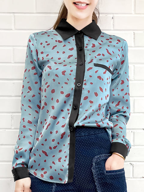 Irregular Dotty Print Contrast Detail Blouse (With Camisole Lining)