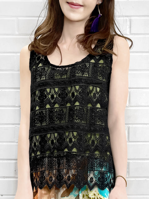 Black Crochet Lace Relax Tank With Contrasting Camisole Lining