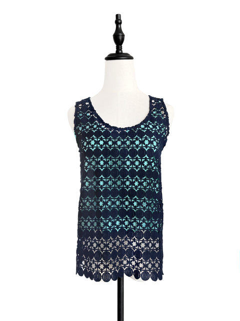 Navy Crochet Lace Relax Tank With Contrasting Camisole Lining
