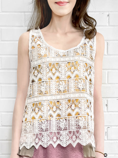 White Crochet Lace Relax Tank With Floral Camisole Lining