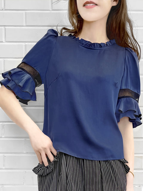 Purplish-Blue Mesh Trimmed Sleeves Ruffle Silky Top