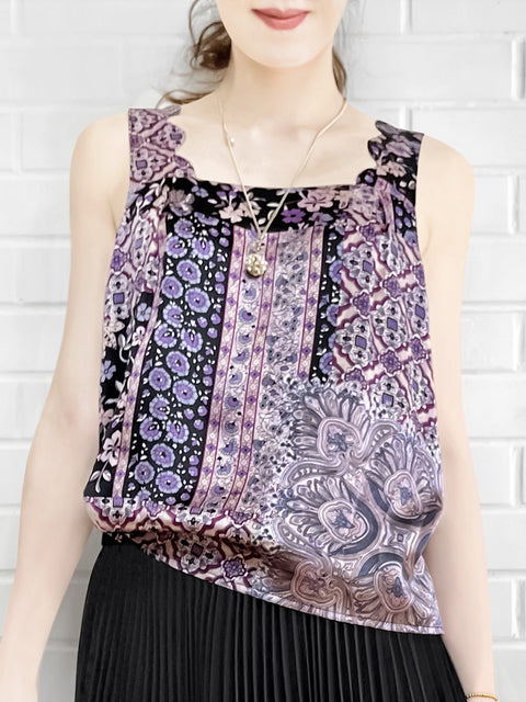 Purplish Floral Silk Scallop Detail Square Neck Tank