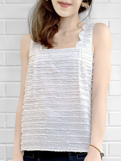 White Textured Fabric Scallop Detail Square Neck Tank