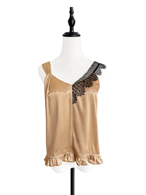 Antique Gold Asymmetrical Lace Strap Ruffle Hem Silk Tank