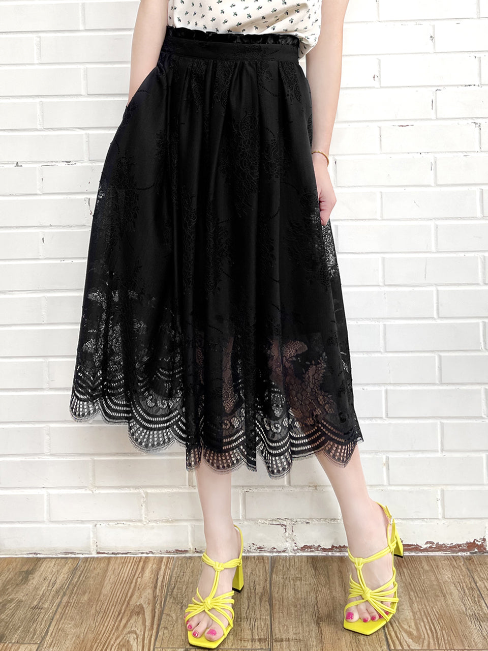 Black Eyelash Lace Paperbag Waist Midi Skirt