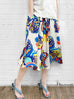 Colourful Bright Print Paperbag Waist Midi Silky Skirt