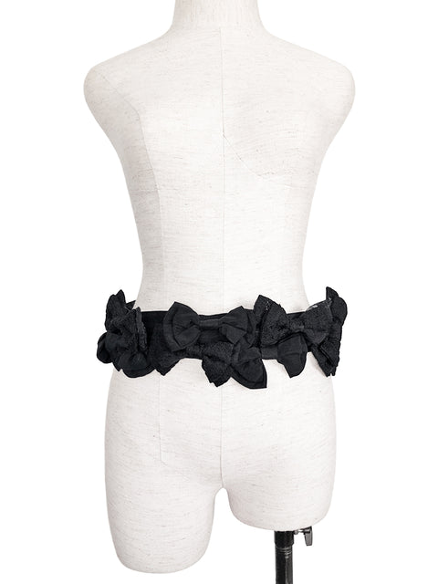 Surprise Sale! Black Shades Patch Fabric Playful Bows Belt