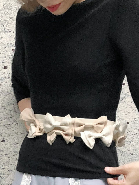 Surprise Sale! Ivory Shades Patch Fabric Playful Bows Belt