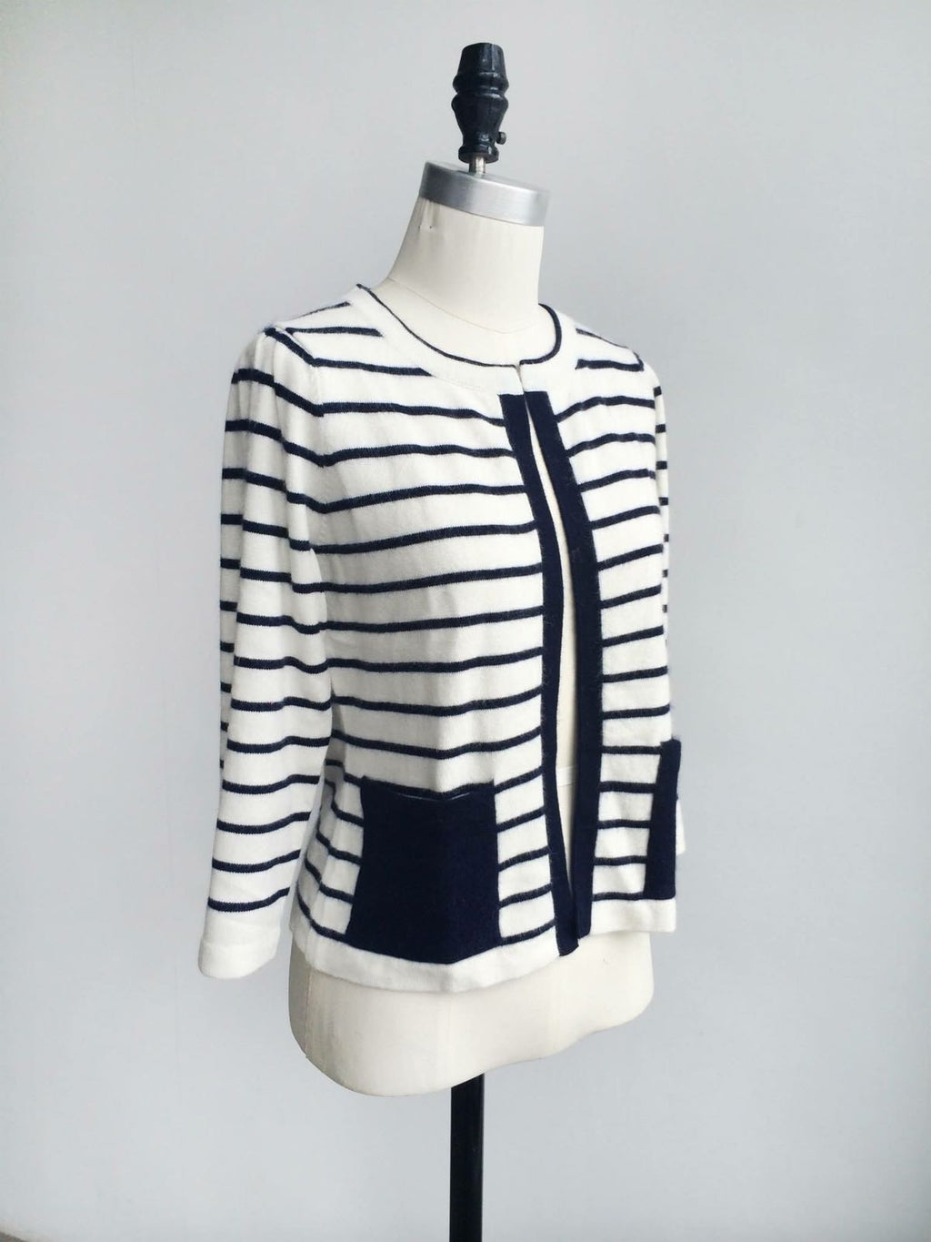 Further Sale! Patch Pockets Stripe Cashmere Cardigan