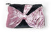 Black Furry Pink Velvety Bow Pouch