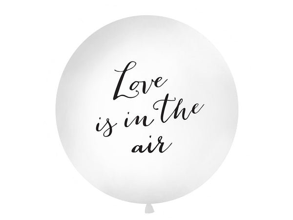 Ballong 1 m, LOVE IS IN THE AIR, print, hvit