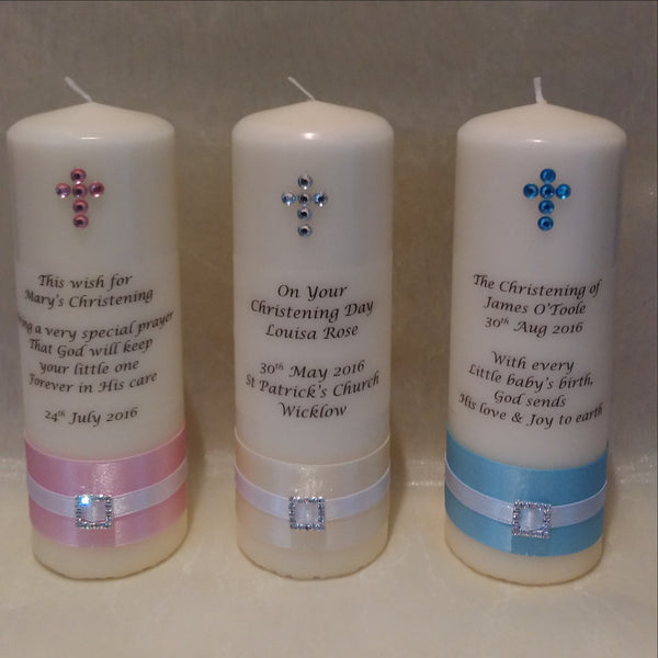 personalised candles, christening candle, baptism candle, christening ceremony, baptism ceremony, wedding candles Ireland